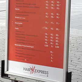 Hair Express Preisliste 2019
