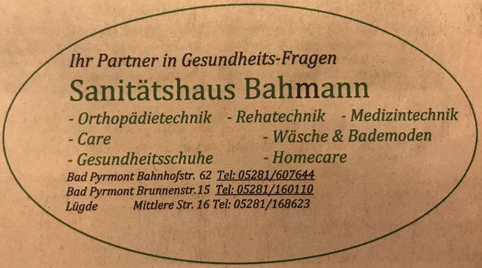 Bahmann Ute Sanitätshaus in Bad Pyrmont ⇒ in Das Örtliche