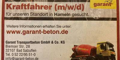 Transportbetongesellschaft mbH GARANT & Co. KG in Bad Salzuflen