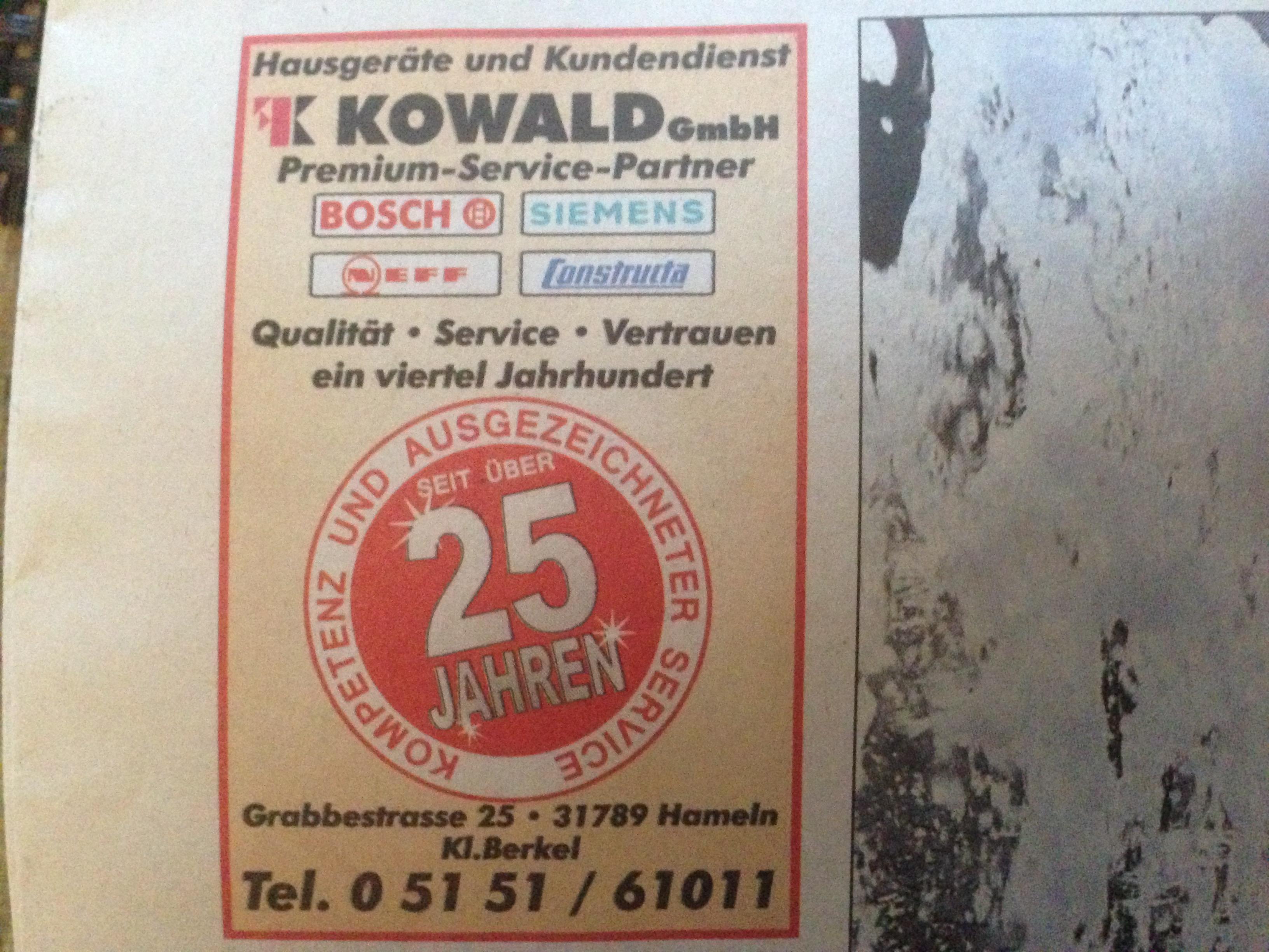 Kowald Hausgerate Kundendienst Gmbh 31789 Hameln Klein Berkel
