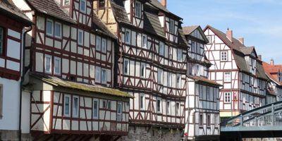 Historische Schleusenanlage und Wehr in der Fulda in Rotenburg an der Fulda