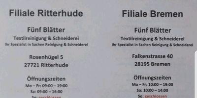 Fünf Blätter Textilreinigung u. Schneiderei in Ritterhude