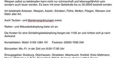 TTT Schädlingsbekämpfung Thorsten Klar in Duisburg