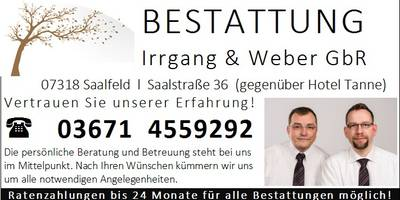 Bestattung Dietmar Irrgang und David Weber GbR Bestatter in Saalfeld an der Saale