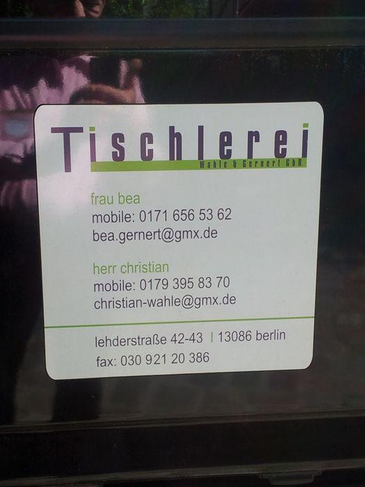 gernert beate gudrun tischlerei in berlin wei ensee im. Black Bedroom Furniture Sets. Home Design Ideas