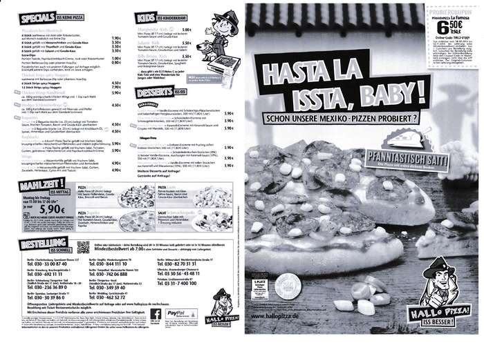 Hallo Pizza Karte