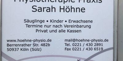 Höhne Sarah Praxis für Physiotherapie in Köln