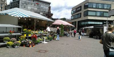 Wochenmarkt & Jubiläumsbrunnen in Wuppertal