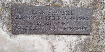 Gedenkstein zum 200. Jahrestag der Ortsgründung in Gosen Gemeinde Gosen Neu Zittau