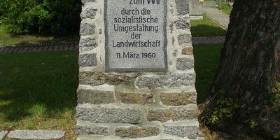 Denkmal für die sozialistische Umgestaltung der Landwirtschaft in Schlunkendorf Stadt Beelitz in der Mark